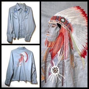 Tops - Vintage! 70's embroidered western style shirt